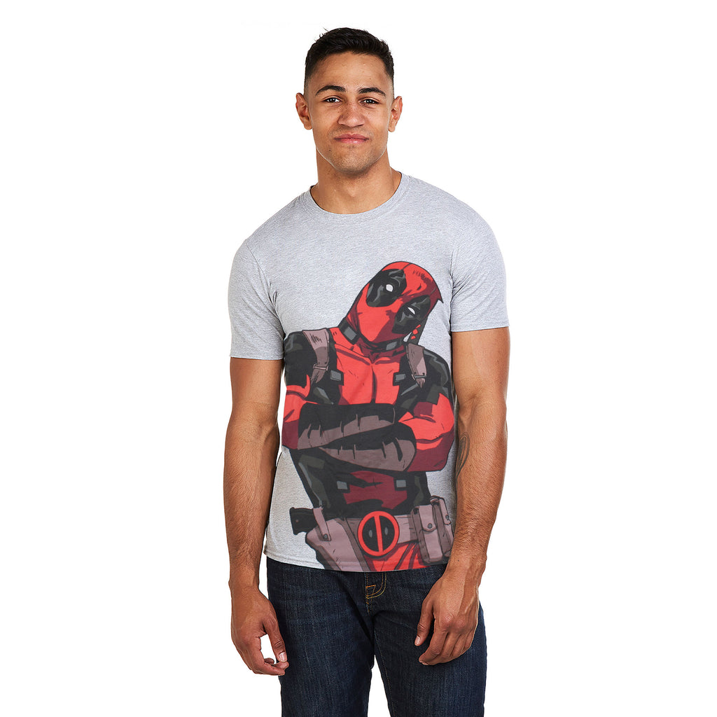 Marvel Mens - Deadpool Talking - T-Shirt - Grey Marl