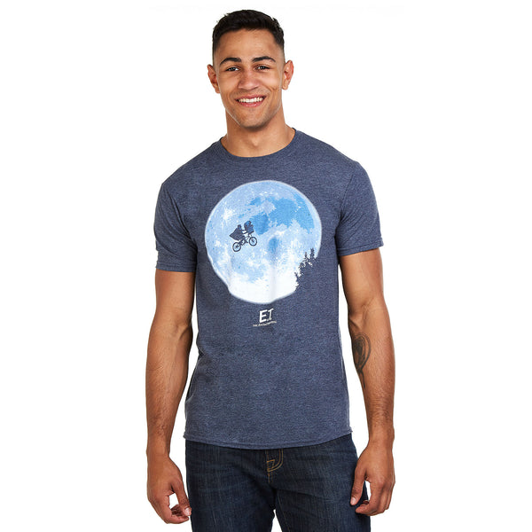 E.T Mens - Bike Moon - T-shirt - Heather Navy