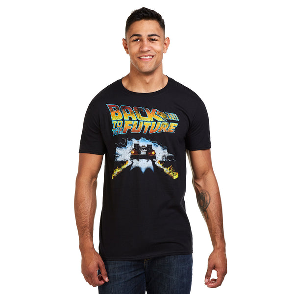 Back to the Future Mens - DELOREAN - T-Shirt - Black