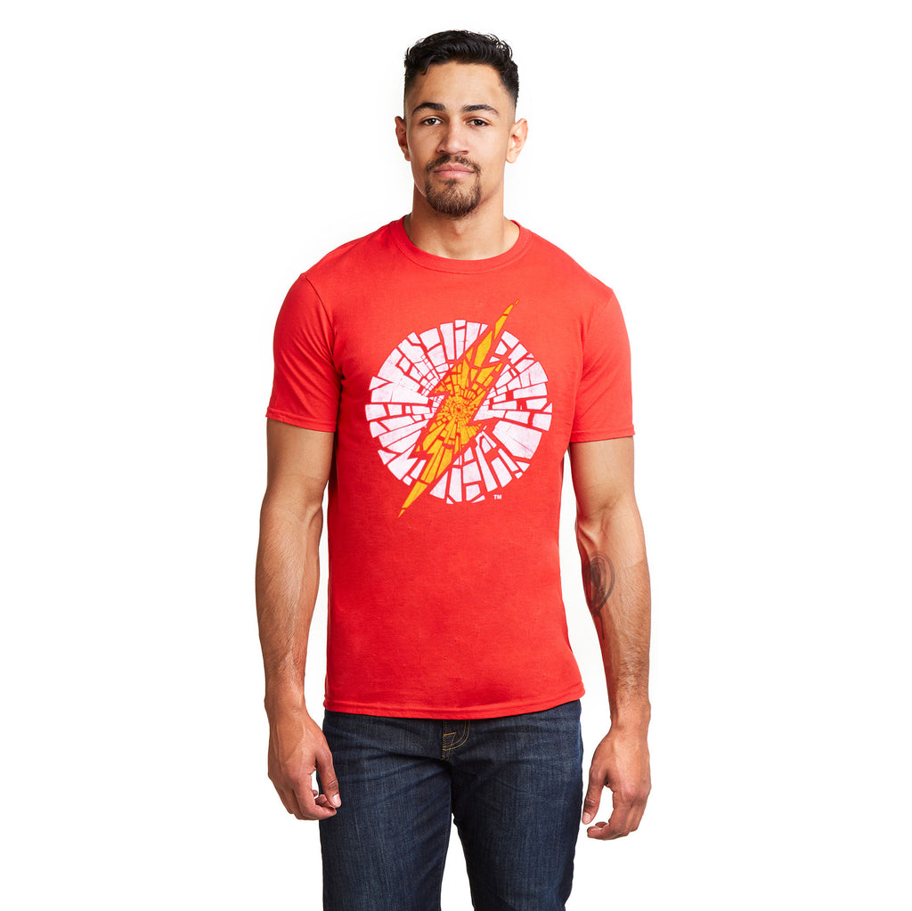 DC Comics Mens - Flash Cracked - T-Shirt - Red