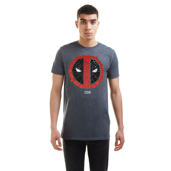 Marvel Mens - Deadpool Cracked - T-shirt - Dark Heather