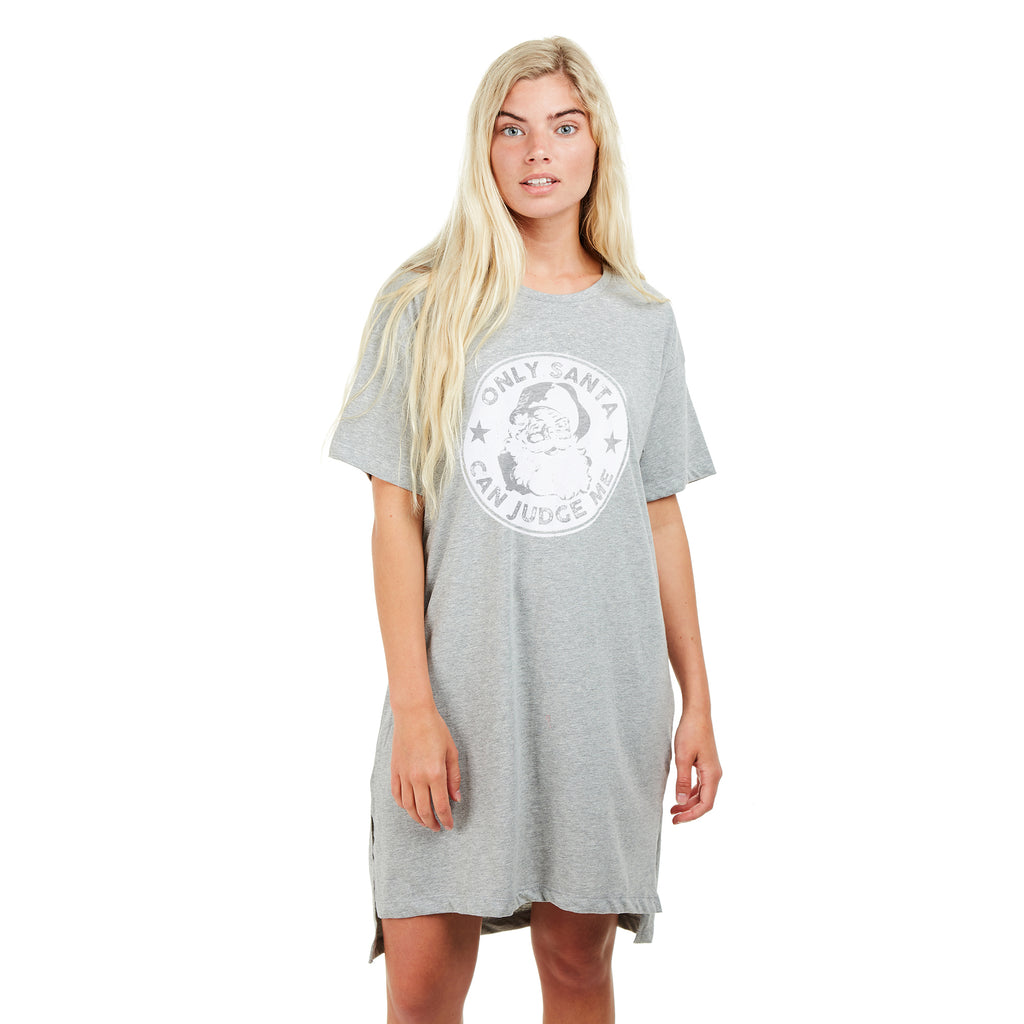 Game On Ladies - Only Santa - Sleep T-shirt - Grey