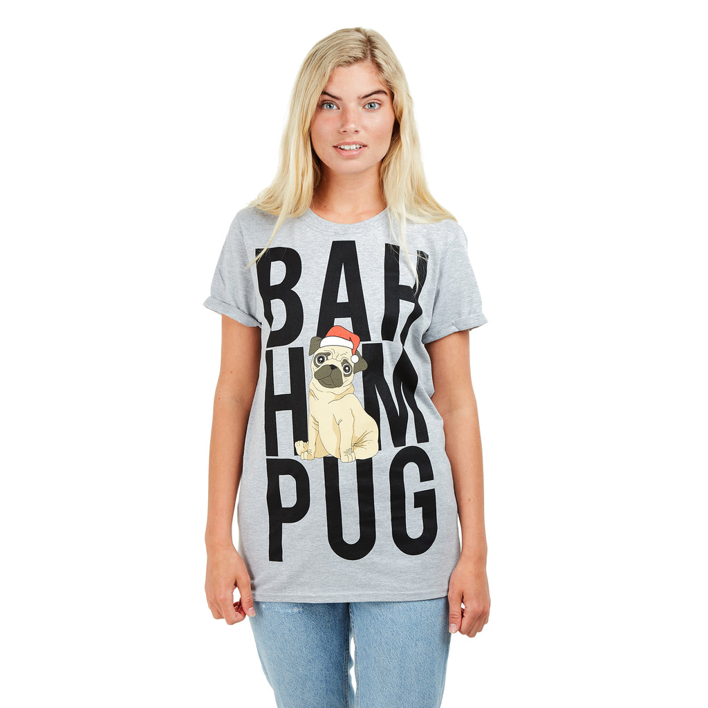 Game On Ladies - Bah Hum Pug - T-shirt - Grey - CLEARANCE