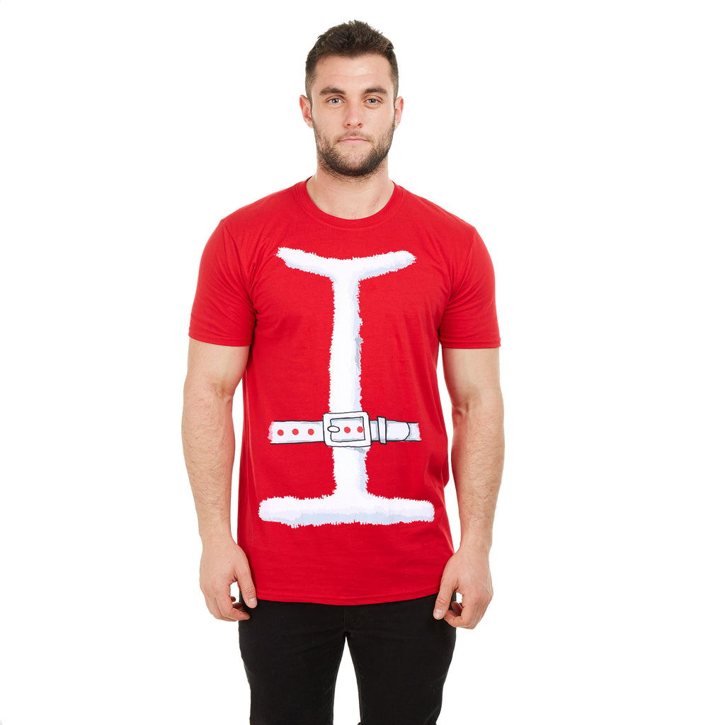Game On Mens - Santa Outfit - T-shirt - Red - CLEARANCE