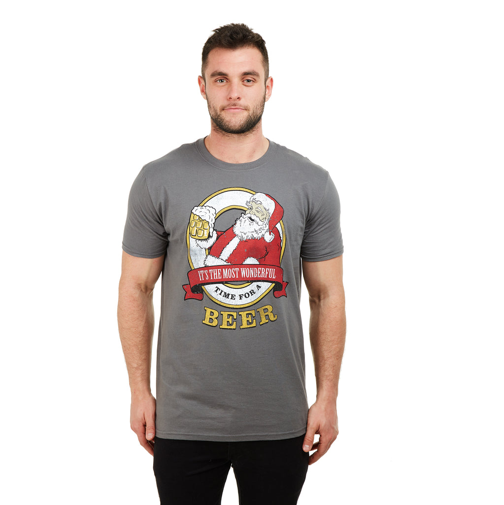 Game On Mens - Time For A Beer - T-shirt - Charcoal - CLEARANCE