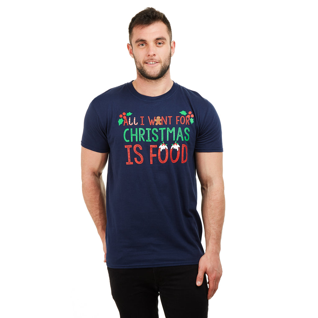 Game On Mens - All I Want For Xmas - T-shirt - Navy - CLEARANCE