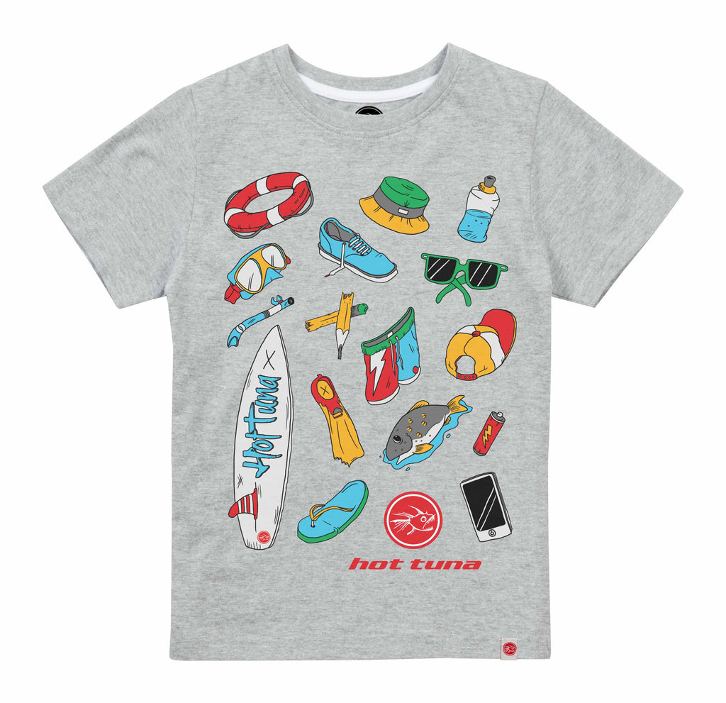 Hot Tuna Boys - Beach Objects - T-Shirt - Grey Marl/White - CLEARANCE