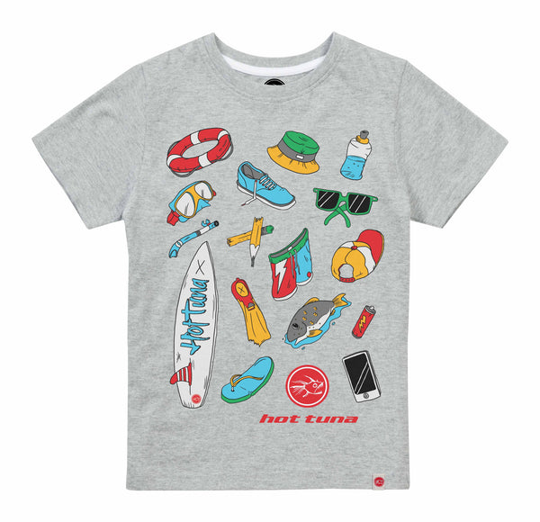 Hot Tuna Kids - Beach Objects - T-Shirt - Grey Marl/White - CLEARANCE