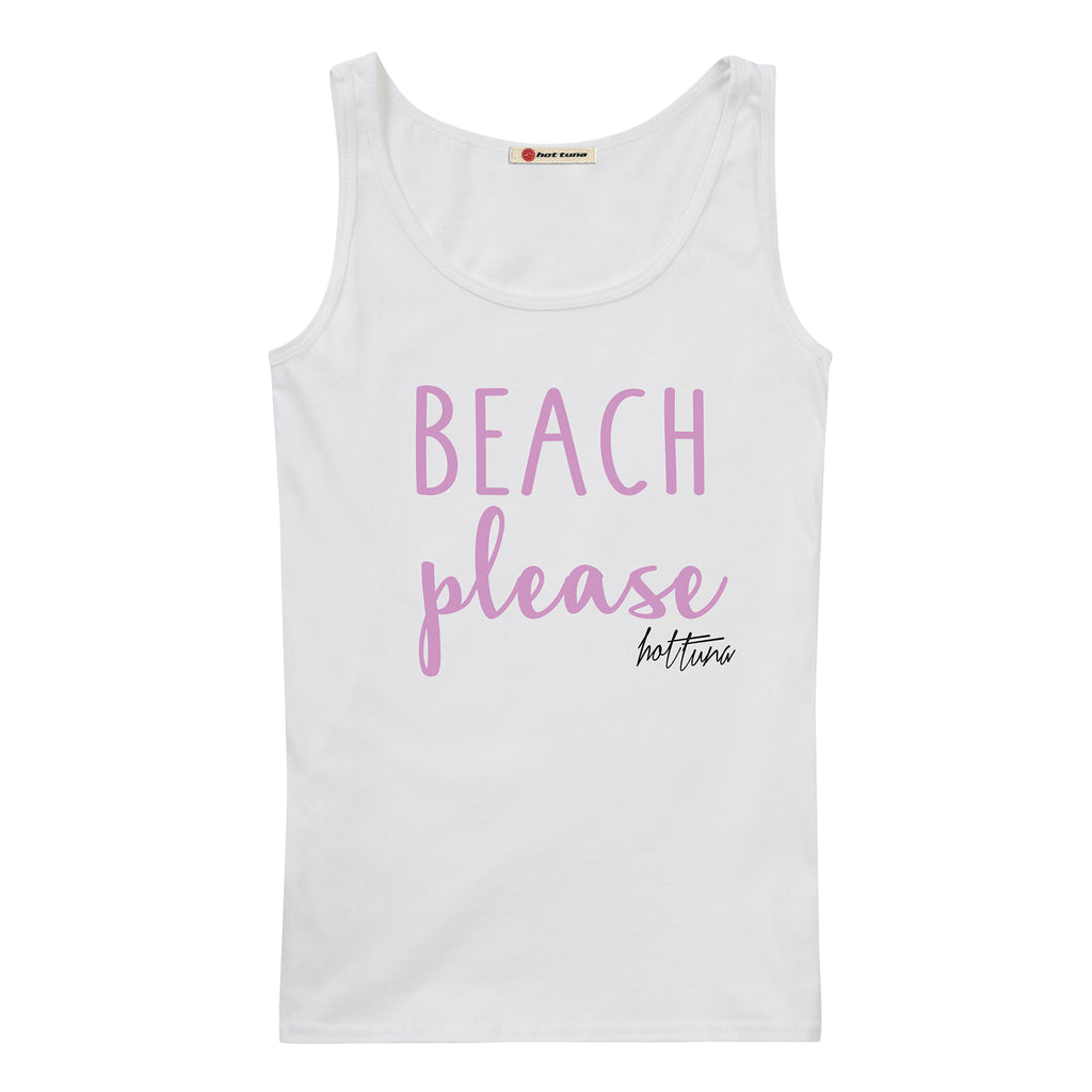 Hot Tuna Ladies -  Beach Please - Vest - White - CLEARANCE