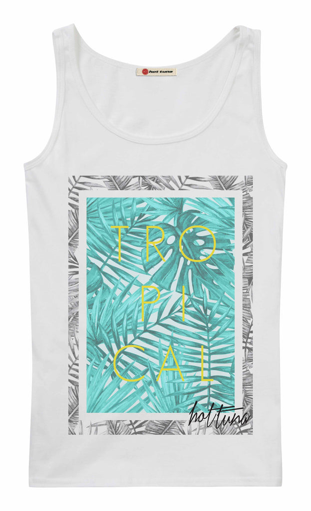 Hot Tuna Ladies -  Tropical - Vest - White - CLEARANCE