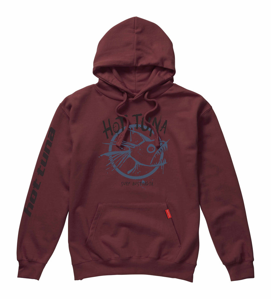 Hot Tuna Mens - Graffiti - Pullover Hood - Burgundy - CLEARANCE
