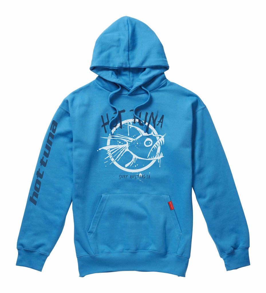 Hot Tuna Mens - Graffiti - Pullover Hood - Turquoise - CLEARANCE