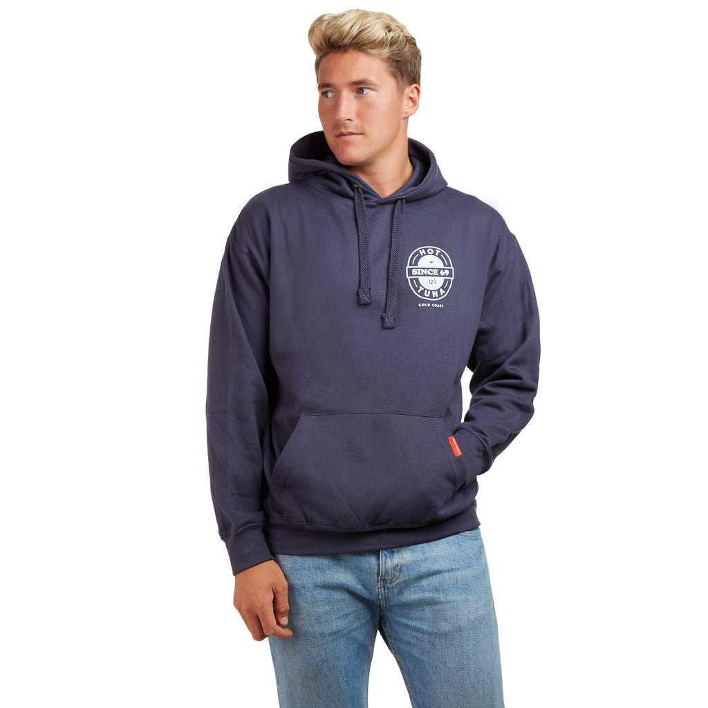 Hot Tuna Mens - Beer Label - Pullover Hood - Petrol
