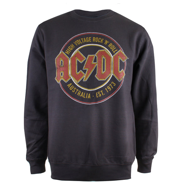 AC/DC Mens - Est. 73 - Crew Sweat - Dyed Grey