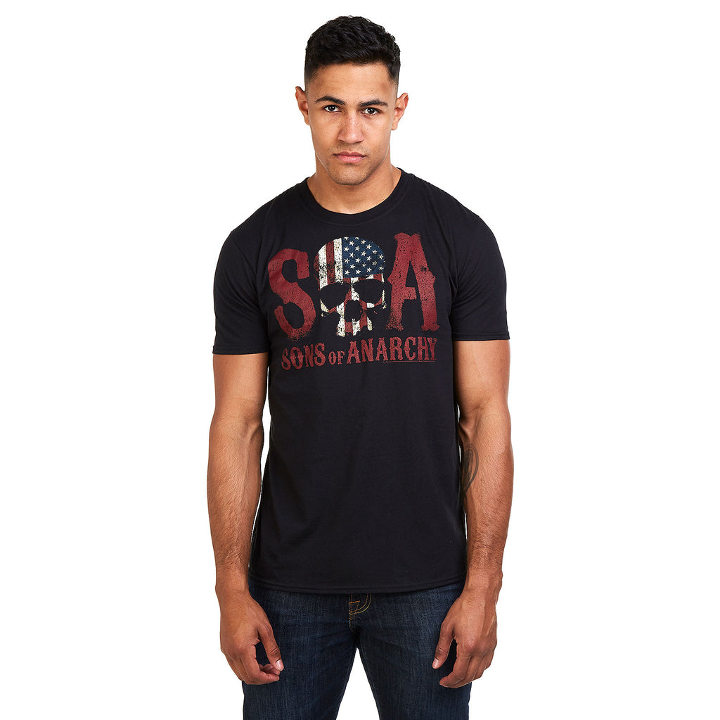Sons of Anarchy Mens - Flag Skull - T-Shirt - Black