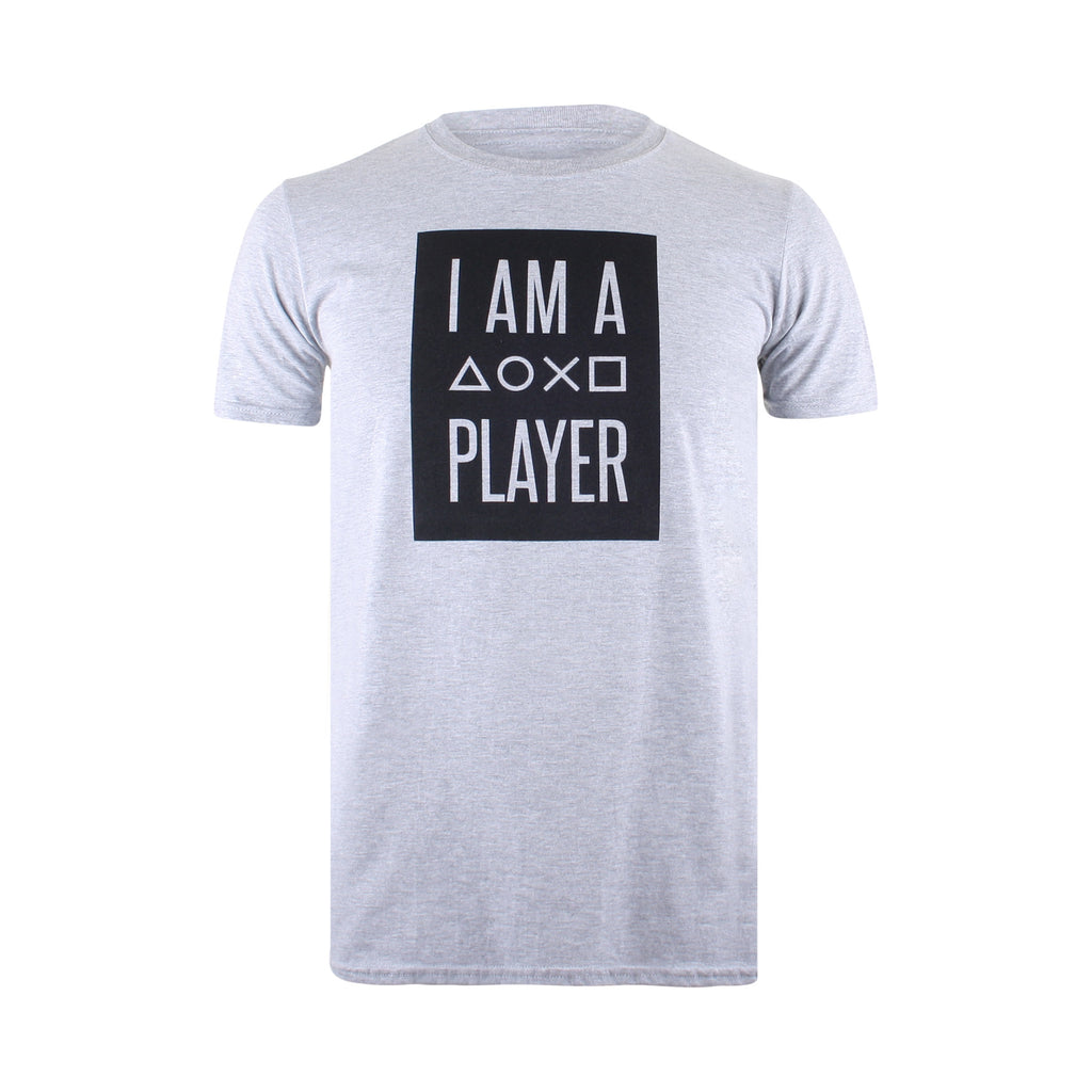 Playstation Mens - I Am A Player - T-Shirt - Grey - CLEARANCE