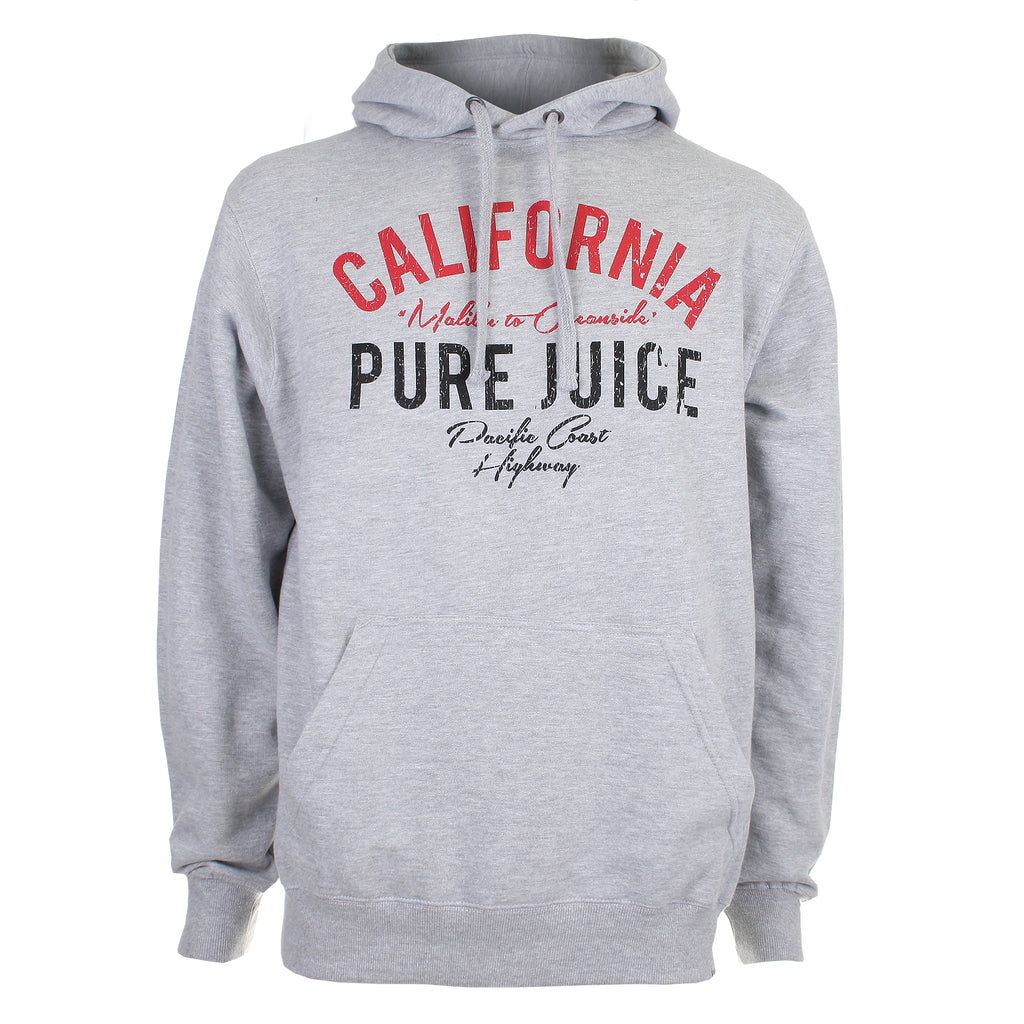 Pure Juice Mens - California - Pullover Hood - Heather Grey