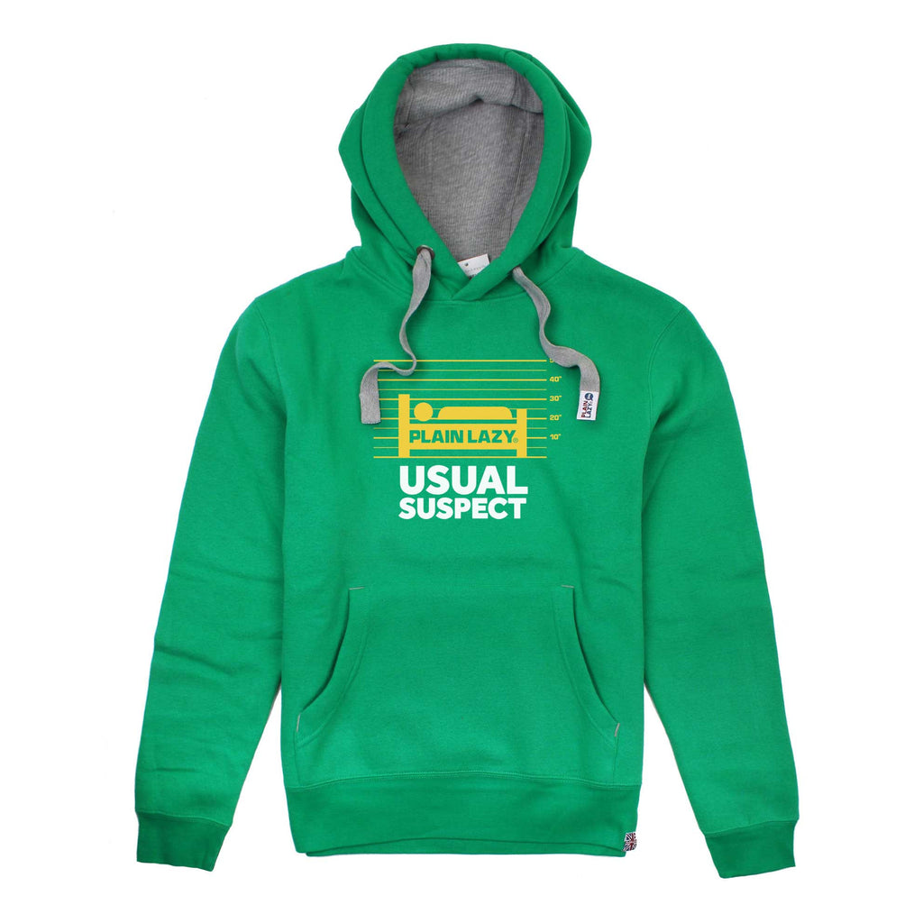 Plain Lazy Mens Usual Suspect Pullover Hoodie - Kelly Green