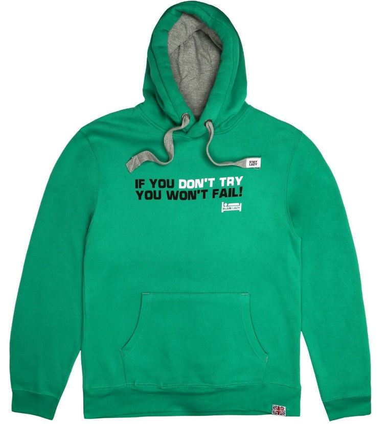 Plain Lazy Mens - Don't Try - Hoodie - Kelly Green - CLEARANCE