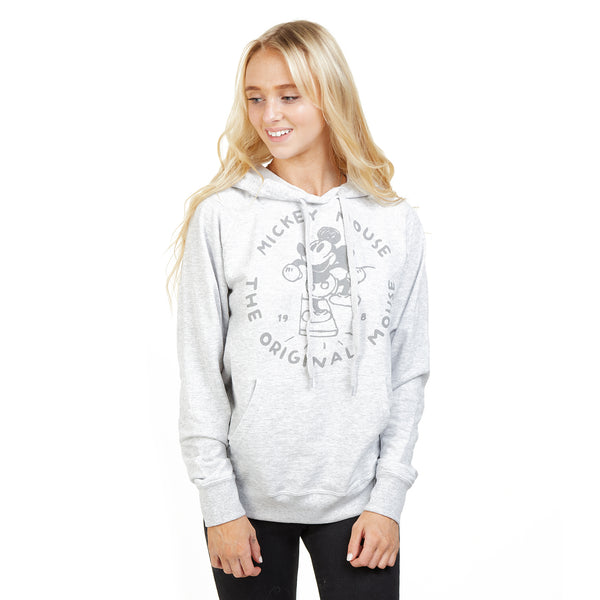 Disney Ladies - The Original Mouse - Pullover Hood - Heather Grey