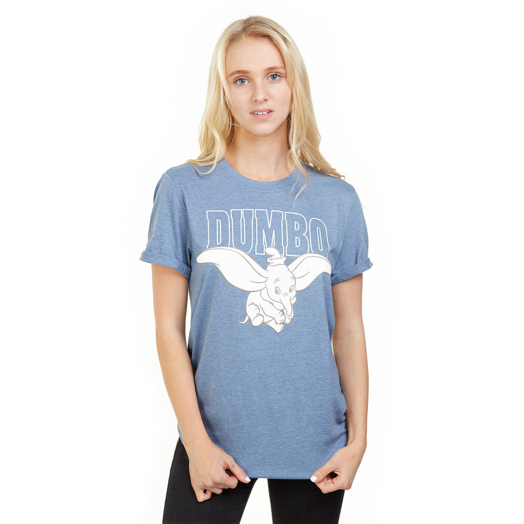 Disney Ladies - Dumbo Flying - T-Shirt - Heather Indigo