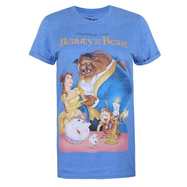 Disney Ladies - Beauty & The Beast - VHS - T-shirt - Heather Royal