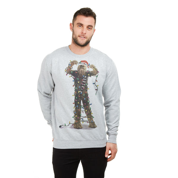 Star Wars Mens - Chewbacca Lights - Crew Sweat - Sport Grey