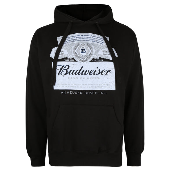 Budweiser Mens - Label - Pullover Hood - Black