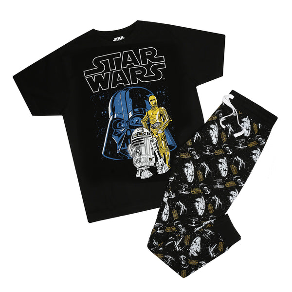 Star Wars Mens - Vader & Droids Pattern - Long Sleep Set - Multi