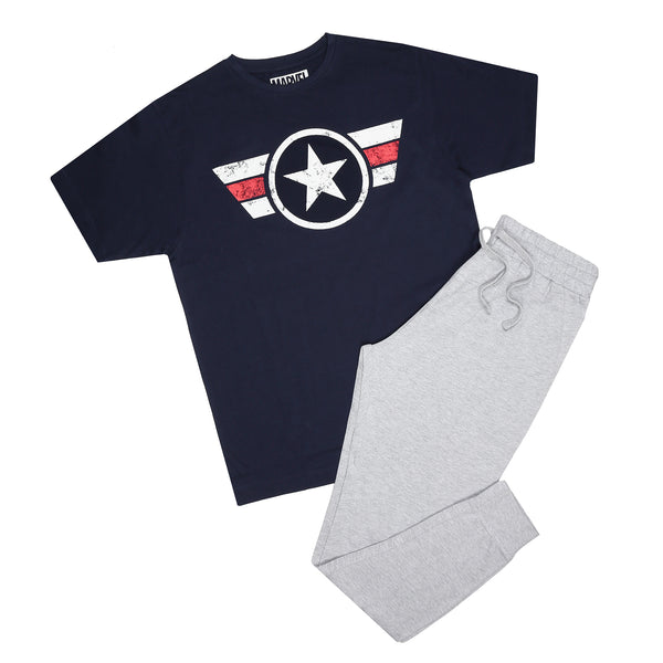Marvel Mens - Captain Logo Stripe - Long Sleep Set - Multi