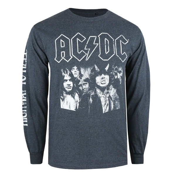 AC/DC Mens - Highway To Hell - Long Sleeve T-Shirt - Dark Heather
