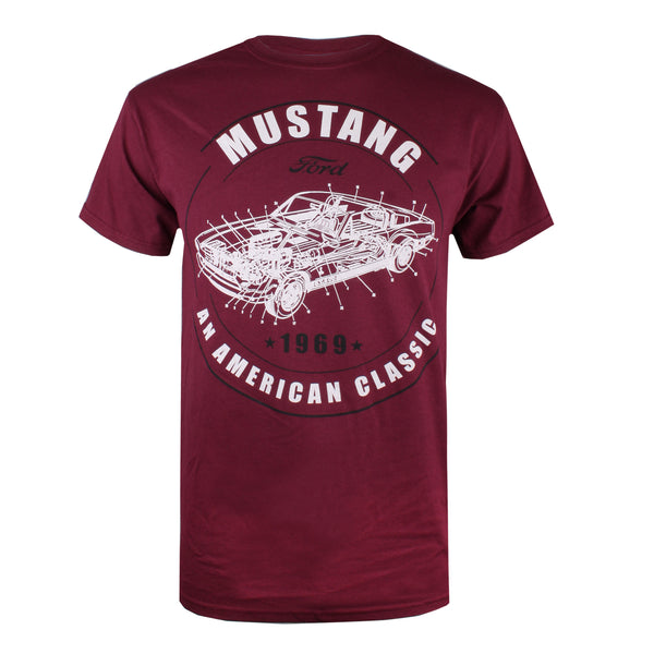 Ford Mens - Mustang - T-Shirt - Maroon