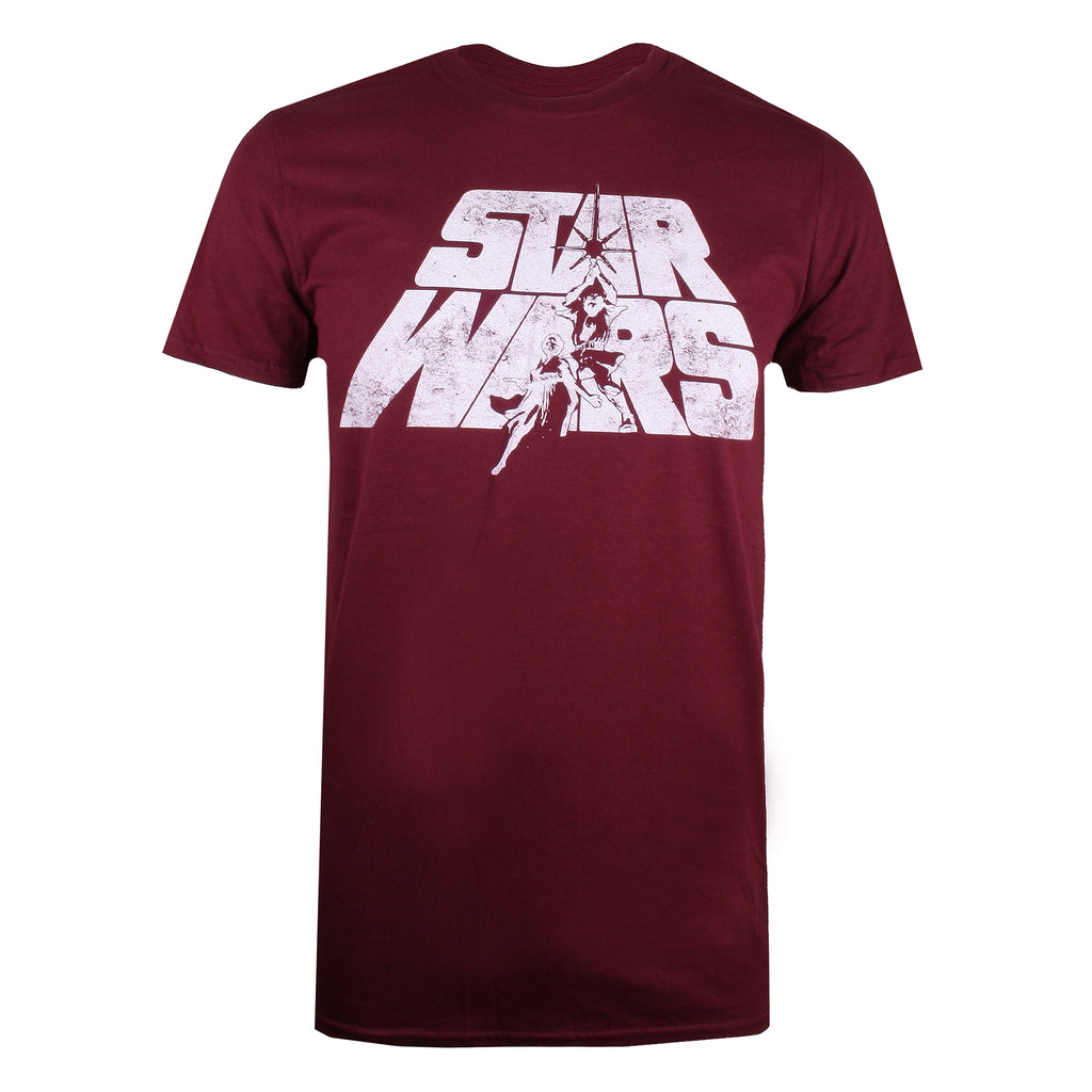 Star Wars Mens - Retro Logo - T-Shirt - Burgundy