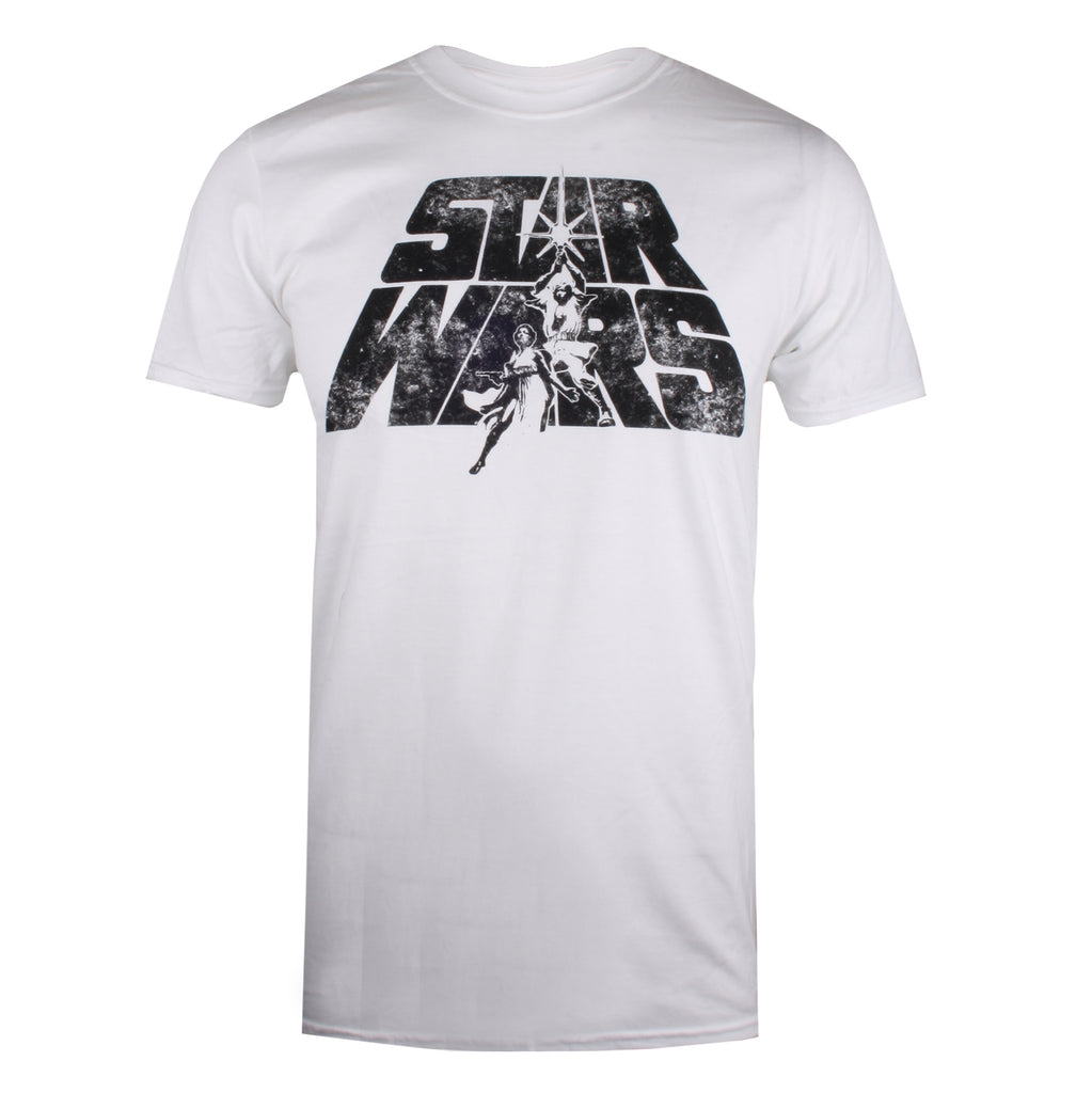 Star Wars Mens - Retro Logo - T-Shirt - White