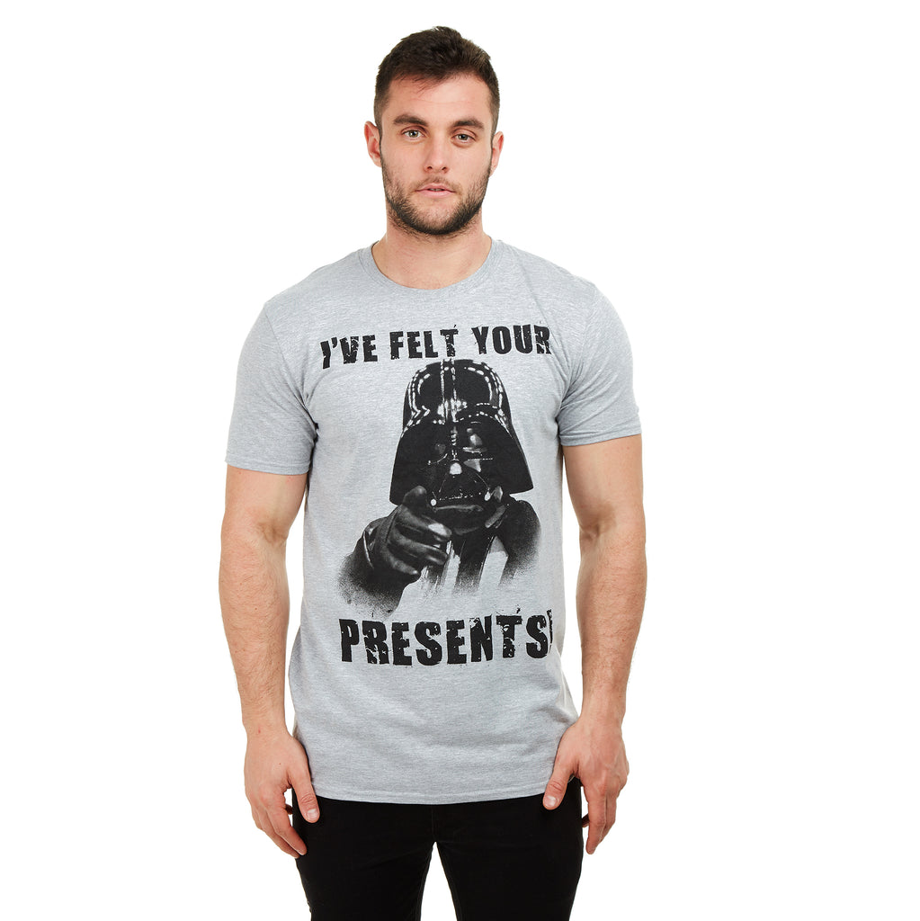 Star Wars Mens - Vader Felt Your Presents - T-shirt - Grey - CLEARANCE