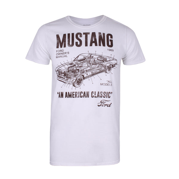 Ford Mens - Mustang Manual - T-Shirt - White