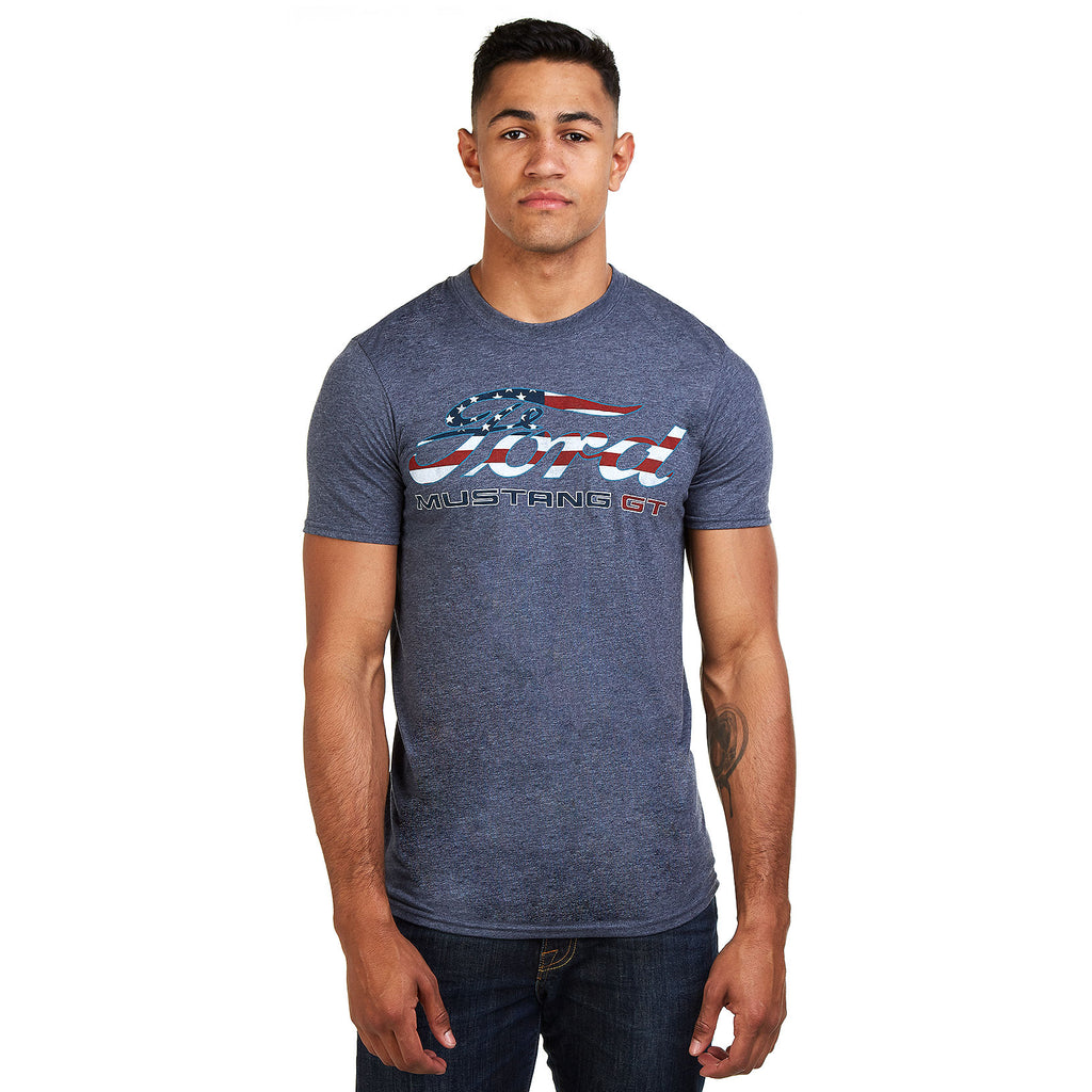 Ford Mens - American Flag - T-Shirt - Heather Navy