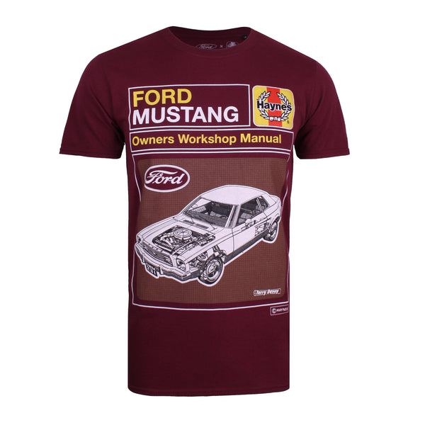 Ford Mens - Haynes X Ford Mustang Schematic - T-Shirt - Maroon