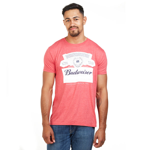 Budweiser Mens - Label - T-Shirt - Red