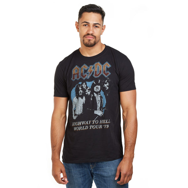 AC/DC Mens - Highway World Tour 79' - T-Shirt - Black