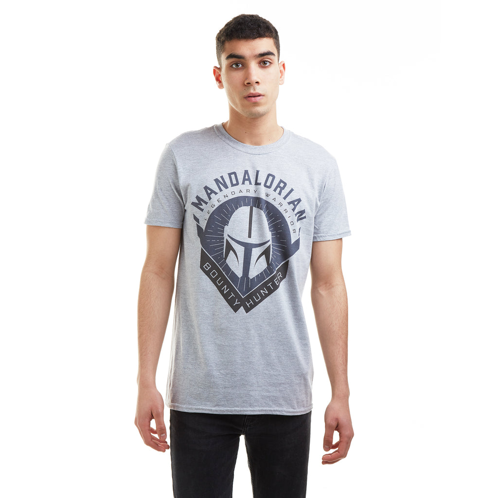 Star Wars Mandalorian Mens - Bounty Hunter - T-shirt - Grey Marl