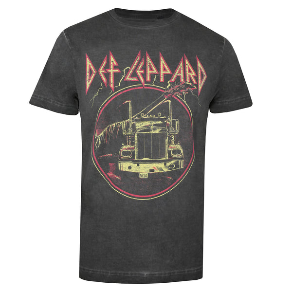 Def Leppard Mens - Through The Night - Acid Wash T-Shirt - Vintage Black