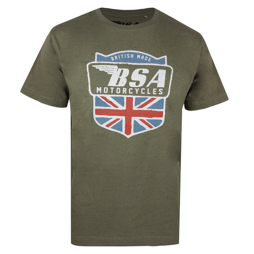 BSA Mens - British Made - Acid Wash T-Shirt - Khaki Neptune