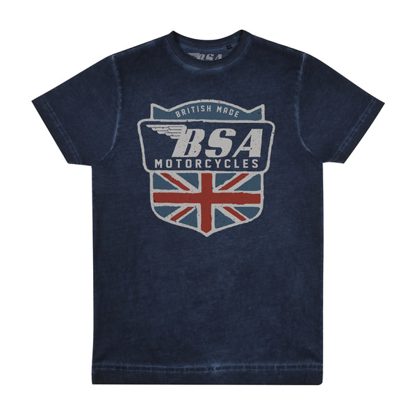BSA Mens - British Made - Acid Wash T-Shirt - Vintage Navy