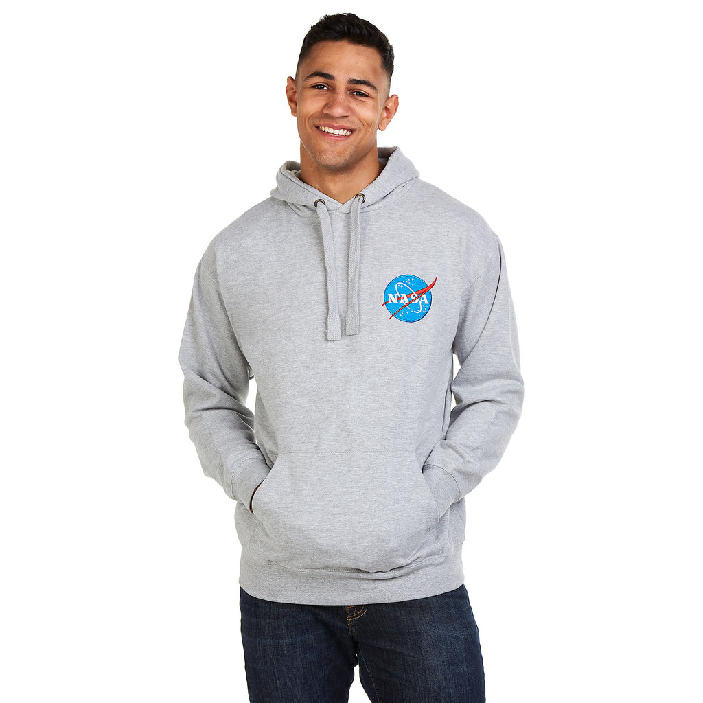 NASA Mens - Embroidered Logo - Pullover Hood - Grey