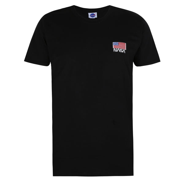 NASA Mens - NASA Flag Embroidery - T-shirt - Black
