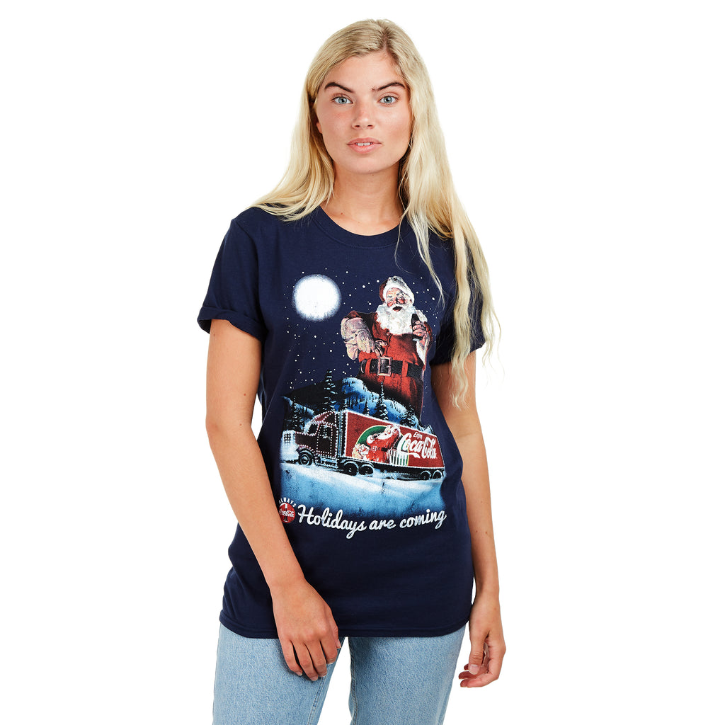 Truffle Shuffle Ladies - Holidays Are Coming - T-shirt - Navy