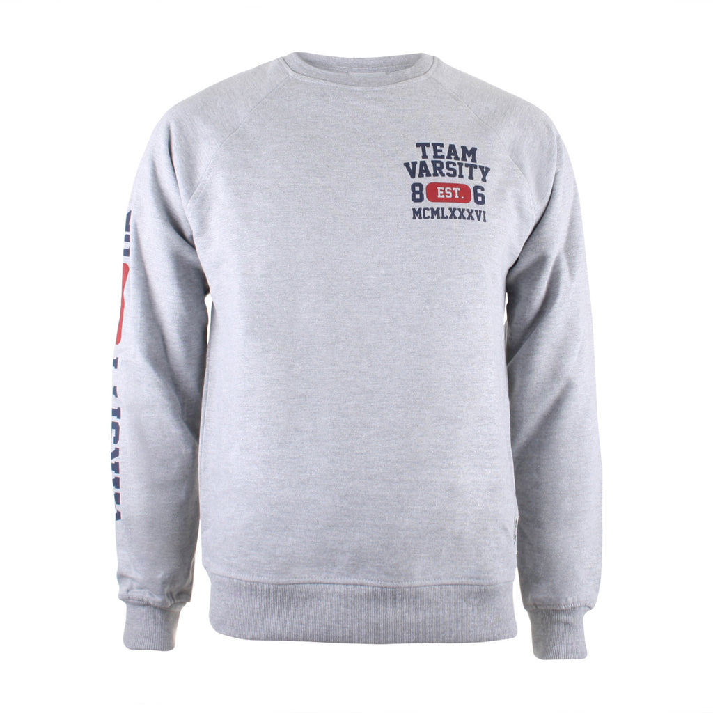 Varsity Mens - Team Varsity - Crew Sweat - Grey Marl - CLEARANCE
