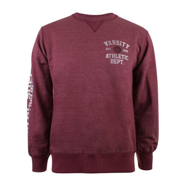 Varsity Mens - Athletic Dept. - Crew Sweat - Wine Heather - CLEARANCE