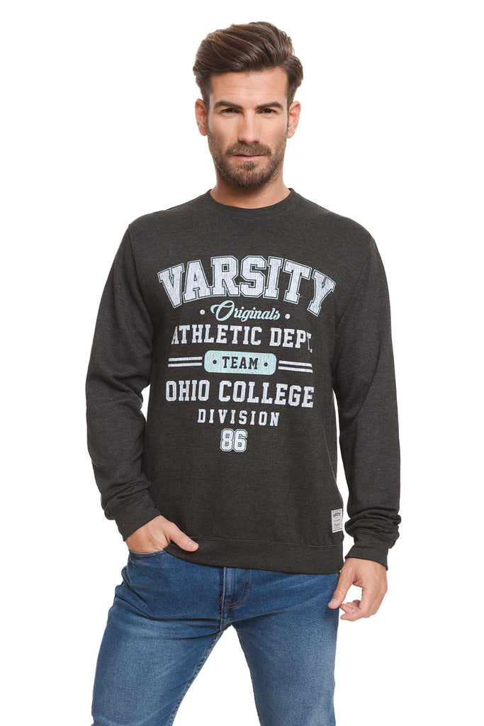Varsity Mens - Ohio College - Crew Sweat - Black Heather - CLEARANCE